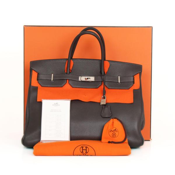 Bolso Hermes Birkin 40 piel Togo color Plomb y herrajes paladio.